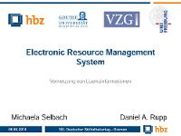 Bild: Electronic Resource Management System