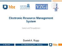 Bild: Electronic Resource Management System - Stand und Perspektiven